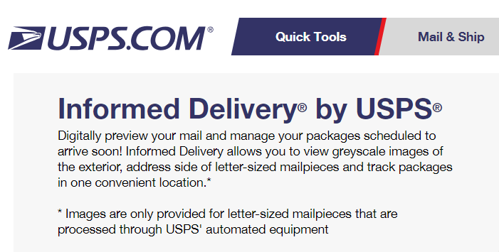 USPS Informed Delivery – Mail Notification Scans Via Email